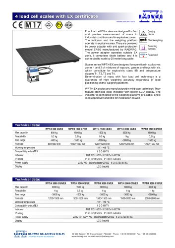 4 load cell scales with EX certificate