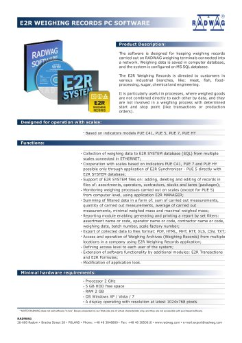 E2R WEIGHING RECORDS PC SOFTWARE