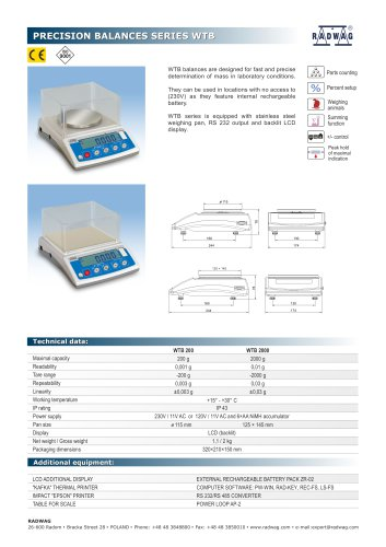 PRECISION BALANCES SERIES WTB