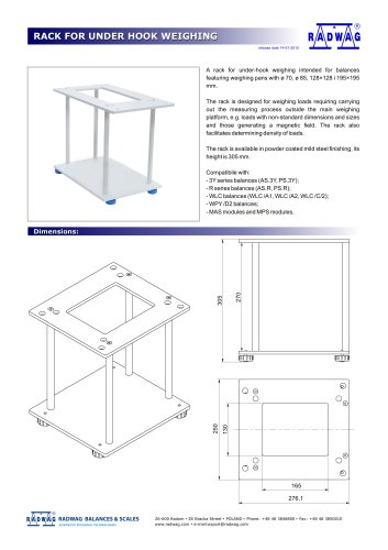 RACK FOR UNDER HOOK WEIGHING