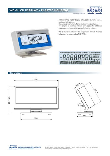 WD-6 LCD DISPLAY - PLASTIC HOUSING