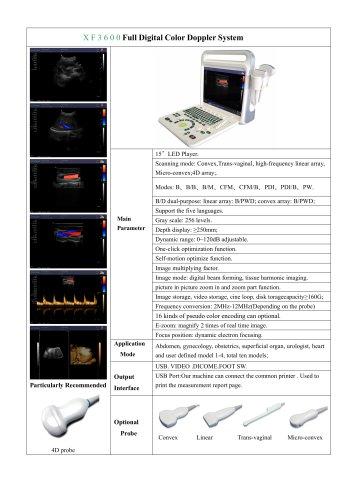 XF3600(E60) portable color doppler for Human
