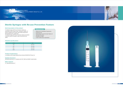 Sterile Syringes with Re-use Prevention Feature