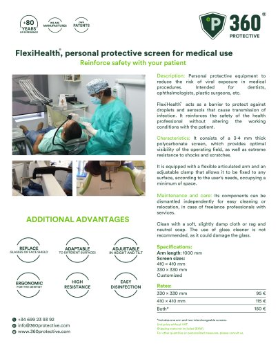 Flexihealth.Protection screen for medical use
