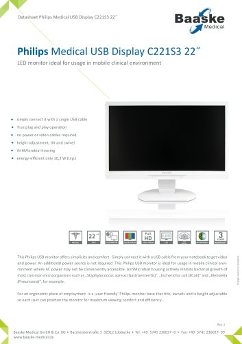 Philips Medical USB Display C221S3 22