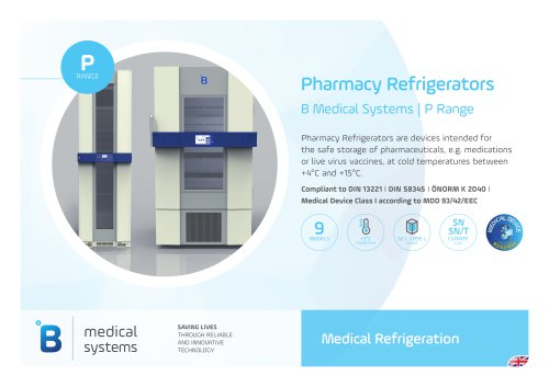 B Medical Systems Pharmacy Refrigerators