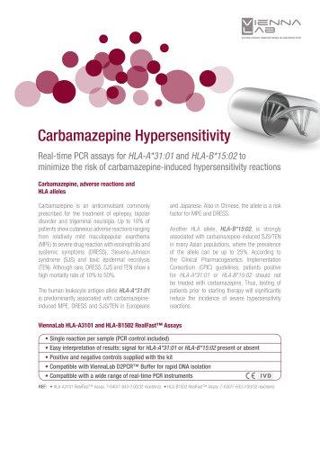 Carbamazepine Hypersensitivity - HLA-B1502/HLA-A3101