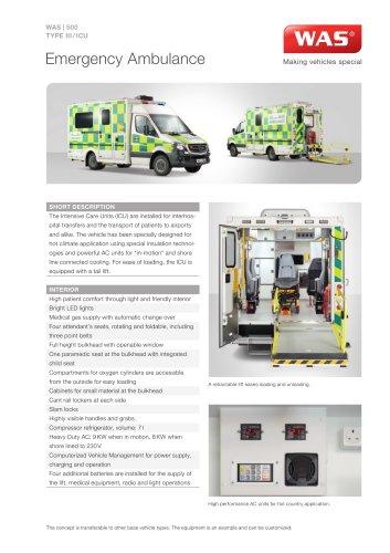 WAS 500 Emergency Ambulance Mercedes-Benz Sprinter Box Body Type III / ICU 5 T