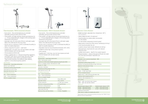 Shower fitments technical info