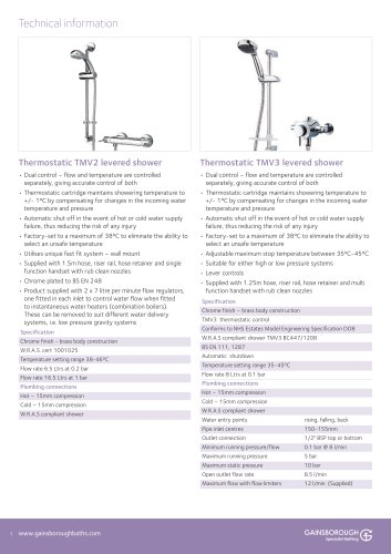 Shower units technical info