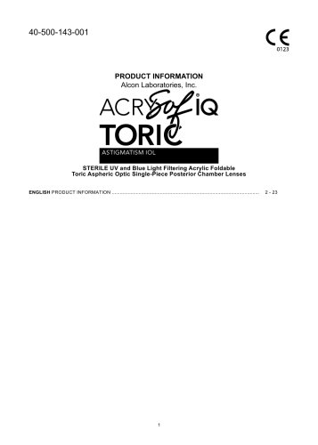 PRODUCT INFORMATION Alcon Laboratories, Inc. AcrySof® IQ Toric