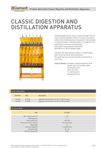 CLASSIC DIGESTION AND DISTILLATION APPARATUS