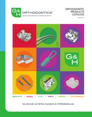 ORTHODONTIC PRODUCTS CATALOG