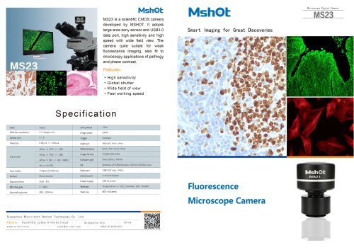 Mshot MS23 fluorescence microscope camera catalogue