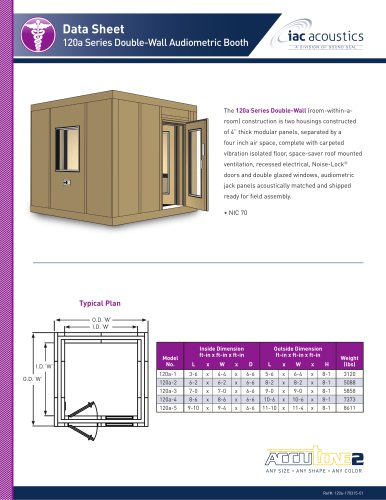 Data Sheet 120a Series Double-Wall Audiometric Booth